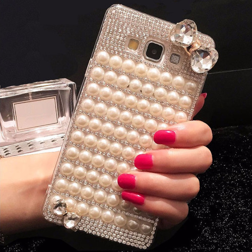 Sunjolly Pearl bowknot Diamond Case for Samsung Galaxy S8/S8 Plus S7 S6 Edge Plus S5 S4 Note 8 5 4 Rhinestone Cover coque fundas