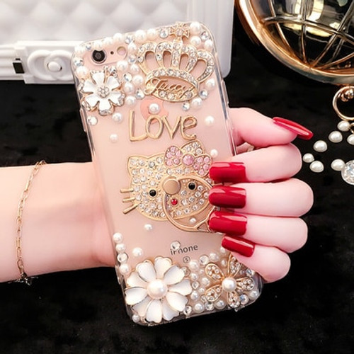 Hello Kitty Case for IPhone X 7 8 6 6S Plus 7Plus 5 KT Cat Cases for IPhone X 8Plus Soft Cartoon Diamond Cover Note9 Accessories