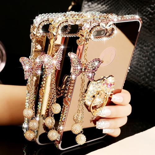 C5 C7 C8 Aluminium Metal Bumper Butterfly Diamond Case For Samsung Galaxy S9 Plus S7 S6 Edge S8 Plus J7Prime Luxury Mirror Cover