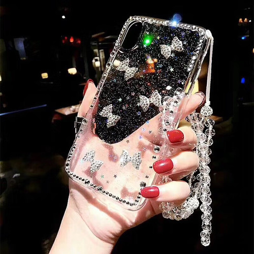 Rhinestone bow strap glitter star phone case for iPhone 6 6s 7 8 plus X XS MAX XR for Samsung galaxy s7 edge s8 s9 plus note 8 9