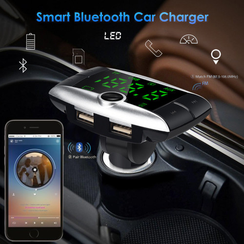 HandsFree Wireless Bluetooth FM Transmitter + AUX Modulator Car Kit MP3 Player Dual USB Charger SD USB LCD Screen Car Accessory