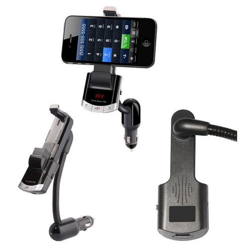 YUANMINGSHI Bluetooth Car Kit Phone Holder Hands-free Calling FM Transmitter with USB Charger Support Music MP3 Player