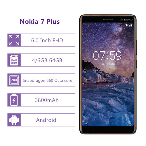 Nokia 7 Plus Smartphone 6.0'' FHD 4/6GB RAM 64GB ROM Snapdragon 660 Octa core Mobile Phone 3800mAh 4G LTE NFC Android Cellphone