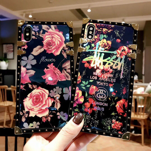 Luxury Blue Ray Rose Flower Case For Samsung galaxy S9 S8 Plus Note 8 Note 9 Square Phone Case Laser Cover