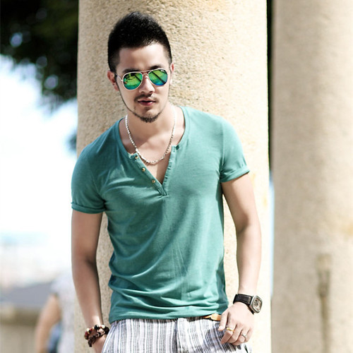 Plus Size S - XXL mens t shirts fashion new casual short sleeve V neck cotton men t shirt brand print T-Shirts Tops T010