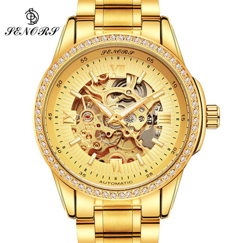 Automatic Mechanical Watch Men Hot Skeleton Watches Gold Bracelet Wristwatch Luxury Brand Mechanical Clock Male Self-winding
