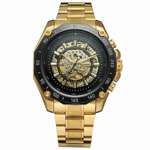 Hot Sale New Number Sport Design Bezel Gold Watch Mens Watches Top Brand Luxury Montre Homme Clock Men Automatic Skeleton Watch
