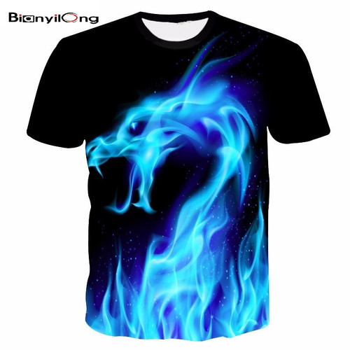 2017 Summer Brand Cool T-shirt Men/Women 3d Tshirt Print Blue Fire Snake Short Sleeve Summer Tops Tees Hip hop T shirt Fashion