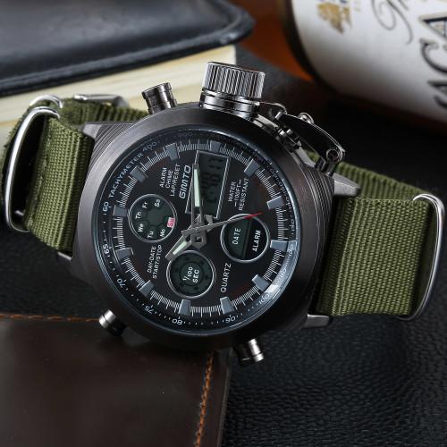 2018 Brand GIMTO Quartz Digital Sports Watches Men Leather Nylon LED Military Army Waterproof Diving Wristwatch Men's Watch