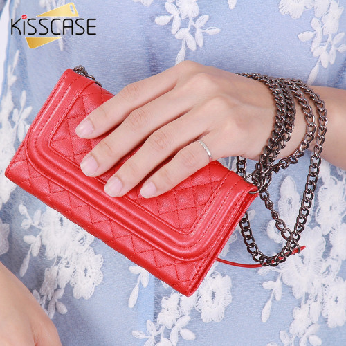 KISSCASE Metal Chain Mirror Women Girl Mini Purse Wallet Case for iphone 6 6s Cover Leather Cover Full Body Flip Hand Phone Bags