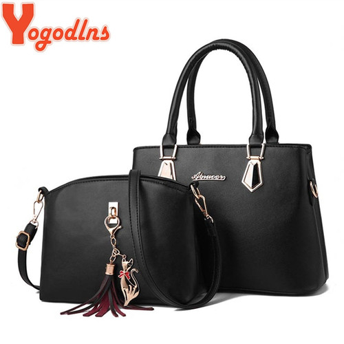 Yogodlns New Luxury Women Bag 2 Pieces Set solid bag Fashion handbag Shoulder Messenger bag PU Leather Composite Bag Women