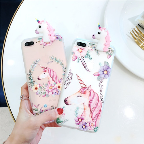 3D Cartoon Unicorn For iPhone 5 5s Case Soft TPU Silicon Case For iPhone 6 6s Plus 7 Plus 8 Plus Back Phone Cover Flower Cases