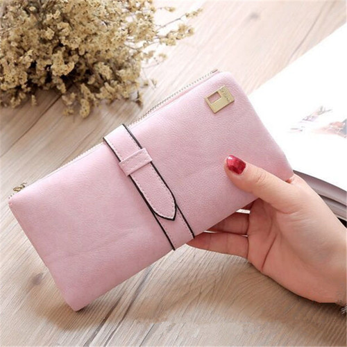 New rushed Lady Bag Women Wallets Purse Matte Drawstring Nubuck Handbags Leather Zipper Long Two Fold Clutch Card Holder A2