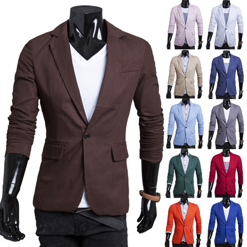 Men Blazer 2018 New Arrival Single Button Trendy Mens Blazers Slim Fit Linen Suits Korean Fashion Red White Blazer Jacket Cheap