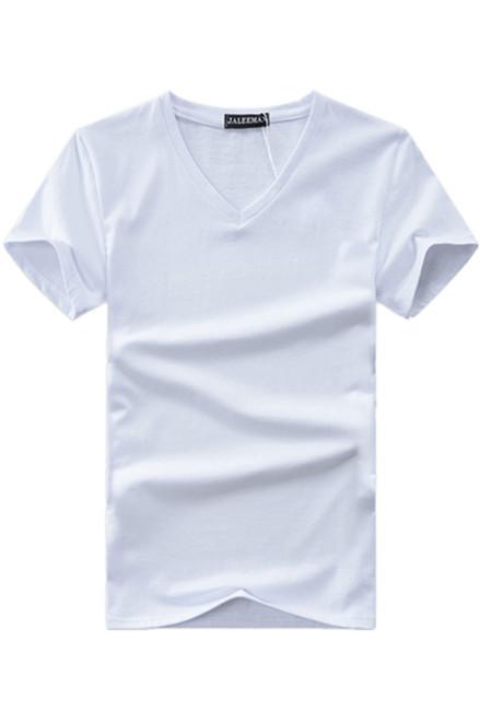 Hot 2018 new summer men V neck t shirt cotton letter Solid color t-shirt short sleeve brand t shirt for men Asian plus size 5xl