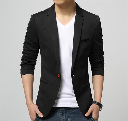 c69308cb4b588e 2019 Fashion Party Mens slim fit cotton blazer Suit Jacket black blue beige  plus size L