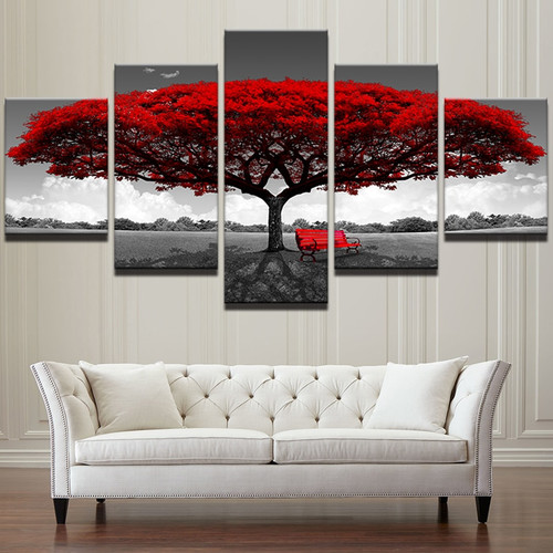 Canvas HD Prints Posters Home Decor Living Room Wall Art 5 Pieces Red Tree Art Scenery Paintings Landscape Pictures Framework