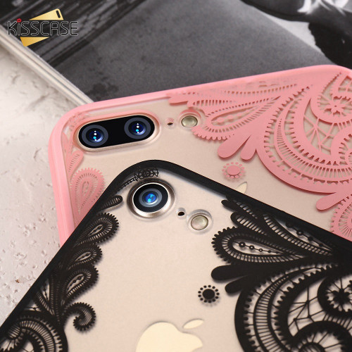 KISSCASE Phone Case For iPhone 5s 5 SE 6s 6 7 8 Plus Luxury Lace Flower TPU Back Cases For iPhone X Xr Xs Xs Max Cover Capinhas