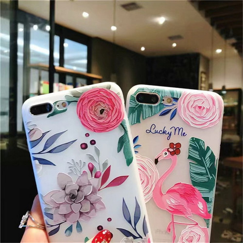 MaxGear 3D Flower Flamingo Case For iPhone X 8 Clear Floral Phone Case For iPhone 7 6 6S Plus 5 SE Matte Soft TPU Back Cove