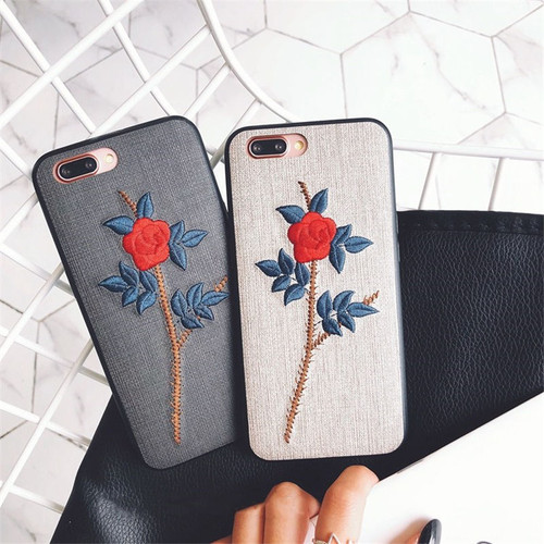 QINUO Rose Embroidery Phone Case For iPhone X XR XS MAX Floral Patterned Flower Cover For iPhone 6 6S Plus 7 8 Plus Leaves Cases