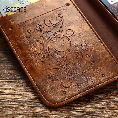 KISSCASE Luxury Flip Phone Cases For iPhone 5 5s SE 6 6s Plus 7 7 Plus Case Retro Flower Kickstand Card Slots PU Leather Cover