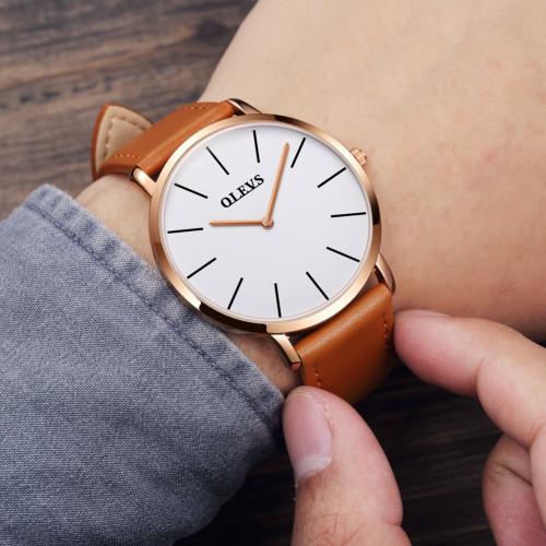 Men Watches 2018 luxury brand Olevs quartz leather minimalist Black strap Ultrathin Wristwatches Waterproof High Quality Relogio