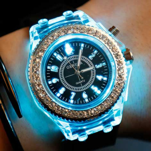LED Sport Watches Geneva Luminous Women Quartz Watch ladies Women Silicone Wristwatches glowing Relojes Mujer 8 colors