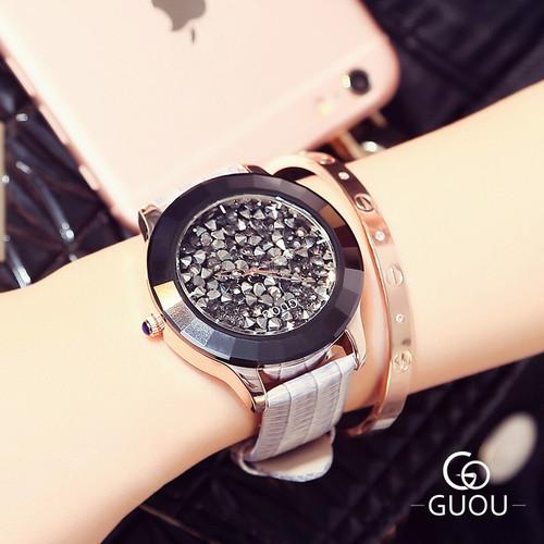 GUOU Women's Watches Luxury Rhinestone Diamond Watch Women Watches Genuine Leather Ladies Watch Clock saat relogio feminino gift