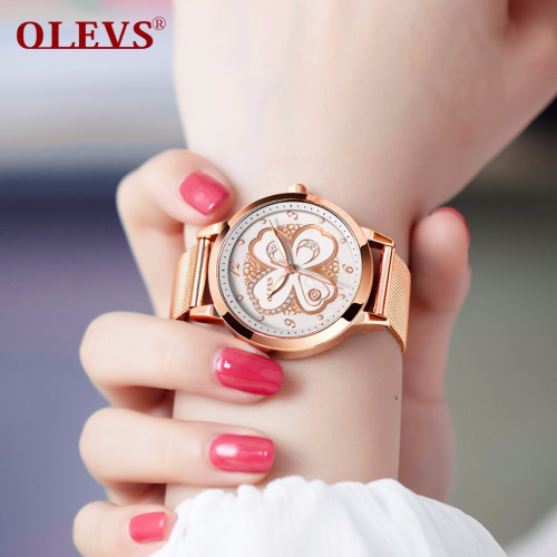 OLEVS Watch Women waterproof Luxury brand Rose Gold Milan Steel Strip Fashion Rhinestone Female Ladies watches relogio feminino