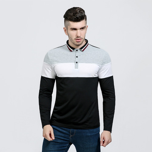 Men Patchwork Polo Shirt Long Sleeve Contrast Color Men's Casual Polo camisa masculina polo shirt men