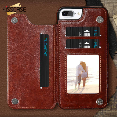 KISSCASE Flip Wallet Case For iPhone 7 6 6s 8 X Xr Xs Max Card Stand Leather Cases For Samsung Galaxy Note 9 S9 S8 Accessories