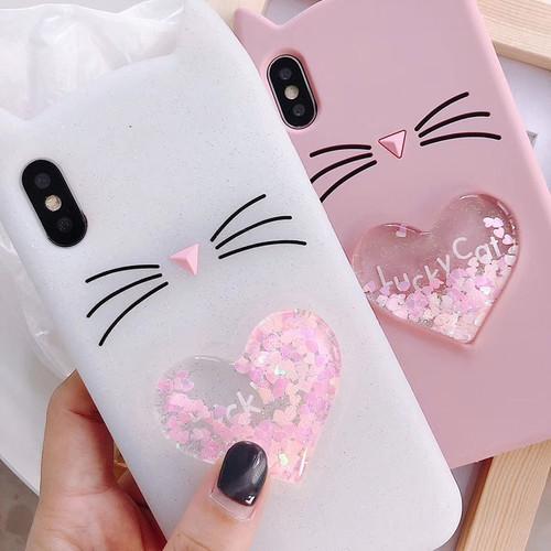 Love Heart Glitter Stars Luck Cat Case for Samsung Galaxy S5 S7 Edge S8 S9 Plus Dynamic Liquid Cover