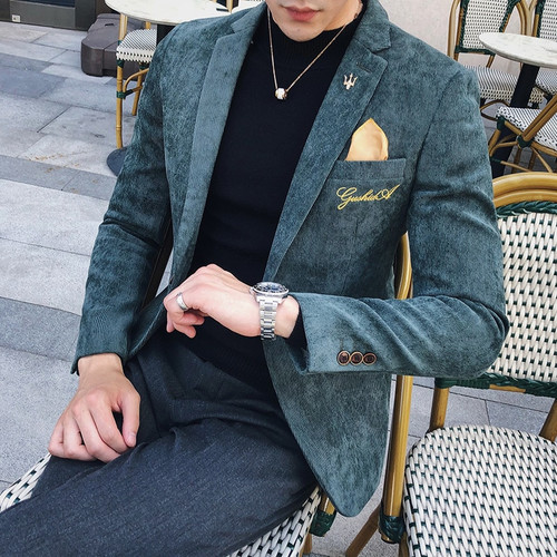 Corduroy Blazer Men Slim Fit Green Khaki Grey 2018 Male Blazer Suit Jacket Gold Embroidery Terno Masculino Korean Men Blazer