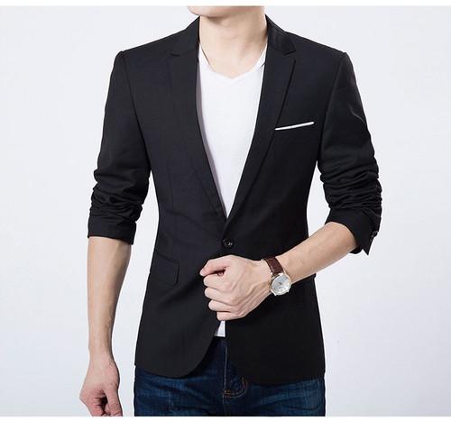 2019 Fashion Men Casual 1 Cotton Jackets Male Slim Fit formal Sky Blue Black Blazer Suit Plus Size 5XL Fashion Men Blazer Sping