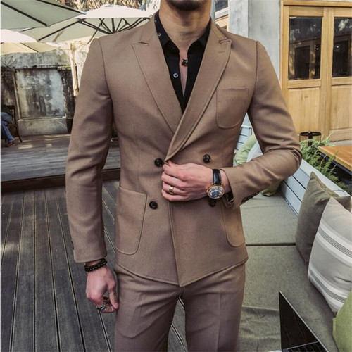 Handsome Men 2PCS Casual Blazers Suits Double Breasted Blazer Mens Korean Style Quality Masculine Blazers Plus Size 3XL A5538