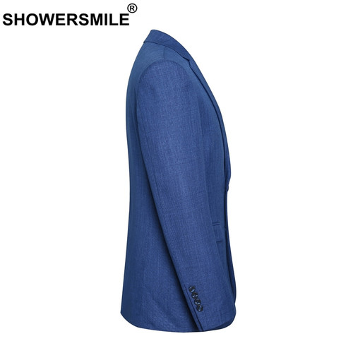 SHOWERSMILE Smart Casual Blazer Men Autumn Navy Suits Blue Slim Fit Solid Plus Size 4xl Brand Suit Jacket Male 2018 Clothing