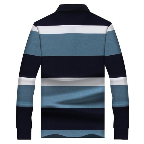 MUDI Men Polo Shirts Long Sleeve Shirt for Male Cotton Soft Striped Printed Slim Turn Down Collar Polo Shirt Casual Men Clothes imported