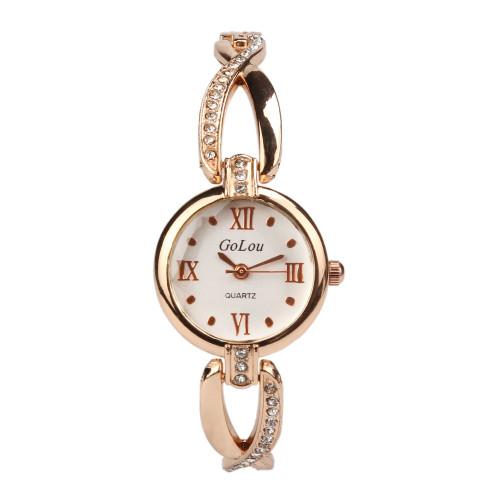 Hot Sale Roman Numeral rose gold bracelet watch Women Ladies Crystal dress Quartz Wristwatches Relojes Mujer G-064