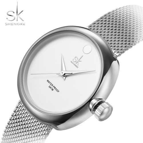SK Top Luxury Brand Fashion Womens Watches Clock Women Steel Mesh Strap Rose Gold Bracelet Quartz Watch Reloj Mujer 2017 New Hot