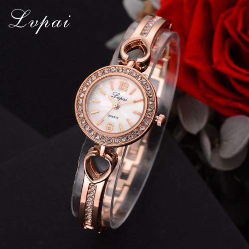 Lvpai Ladies Quartz Women Bracelet Watches Heart Rose Gold Wristwatch Luxury Brand Skeleton Rhinestone  2018 New Hot Sale Watch