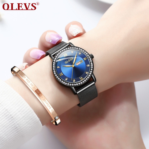 OLEVS Luxury Brand Lady's Crystal Watch Women Dress Waterproof Rose Gold Fashion Quartz Bracelet Watch Stainless Steel dropping