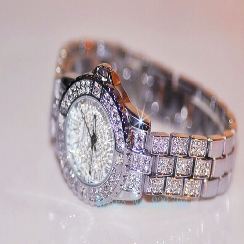 Hot style Women Rhinestone Watches Rose Gold Dress watch Full Diamond Crystal Lady Luxury Watch Female Quartz Wristwatch 4Colors