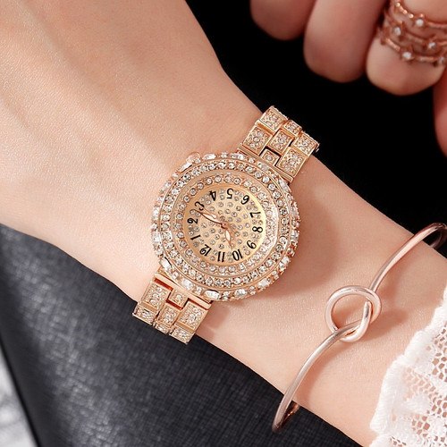 2018 Hot GEDI Fashion Rose Gold Women Watches Top Luxury Popular Lady Quartz Watch 2 Piece Watch Full Rhinestone Dial Clock Hour