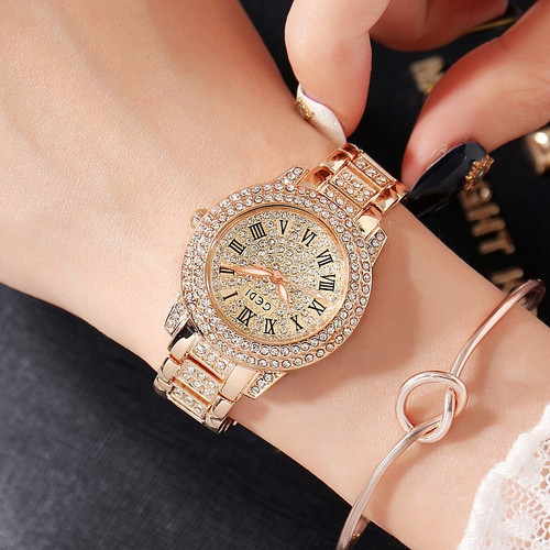 2018 Hot GEDI Fashion Rose Gold Women Watches Top Luxury Ladies Quartz Watch 2 Pieces Watches Full Rhinestone Dial Clocks Hours