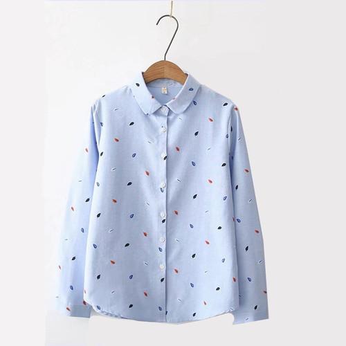 Hanyiren Long Sleeve Print Blouse Turn Down Collar White Blue Shirt Plus Size Office Lady Casual Tops blusas mujer de moda 2018