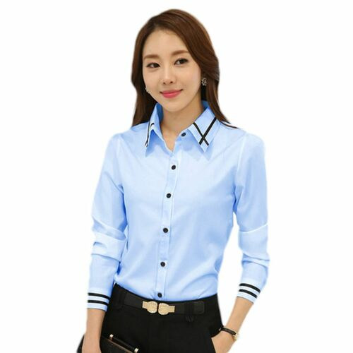 Fashion White Blue Plus Size Long Sleeve Turn-down Collar Formal Elegant Ladies Female Shirt Ladies Tops School Blouse W729