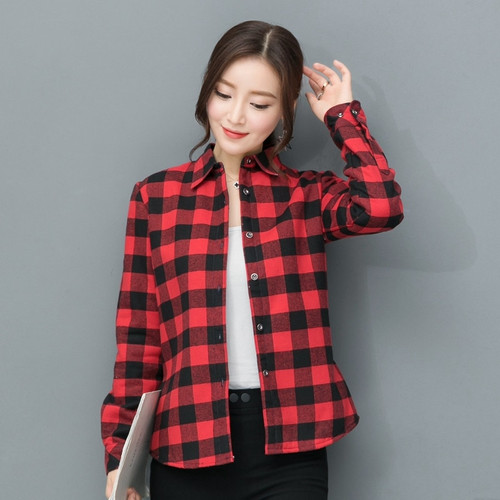 2018 New Brand Women Blouses Long Sleeve Shirts Cotton Red and Black Flannel Plaid Shirt Casual Female Plus Size Blouse Tops