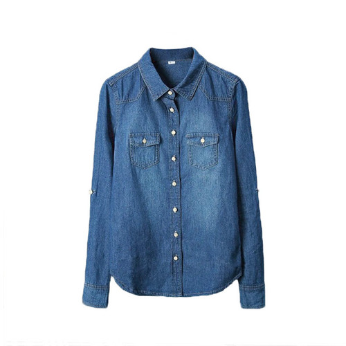 Plus Size vetement Fashion Style Women Clothes Blouse Long Sleeves Casual Denim Shirt Nostalgic Vintage Blue Jeans Shirt Camisa