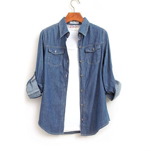 Women Denim Shirts Tops autumn Long Sleeve Blue Jeans Shirt Ladies Casual Blouses Femininas Spring Plus Size Jeans Blouse