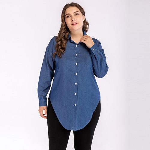 Blue Irregular Plus Size Denim Shirt Female 2018 Autumn Women Vintage Long Sleeve Jeans Blouses Outerwear Big Size Denim Tops